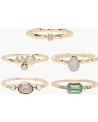 Boohoo - Mixed Gem Stackable Ring Pack - Lyst