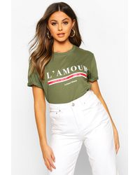 Boohoo L'amour Slogan T-shirt - Green
