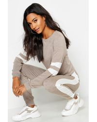 Boohoo Stripe Detail Crop Lounge Set - Multicolour
