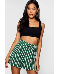 Boohoo - Striped Belted Shorts - Lyst