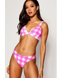 Boohoo - Mexico Mix & Match Gingham High Leg Bikini Brief - Lyst