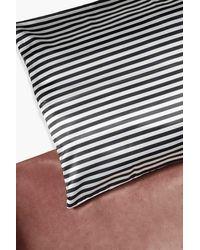 Boohoo Stripe Hair Protect Satin Pillow Case - Black