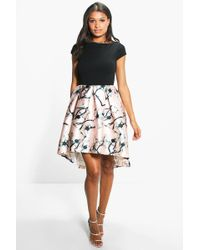 Boohoo | Boutique Jay Sateen Printed Skirt Skater Dress | Lyst