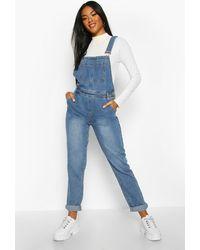 Boohoo Salopette Jeans Boyfriend - Blu