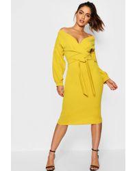 9b8765aa0df3 Boohoo Off The Shoulder Wrap Midi Bodycon Dress in Yellow - Save 43% - Lyst