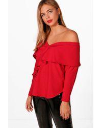 Boohoo - Cold Shoulder Ruffle Woven Shirt - Lyst