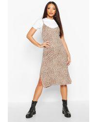 Boohoo Leopard Print Jersey Slip Midi Dress - Brown