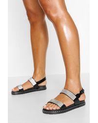 Boohoo Embellished Double Strap Sandals - Negro