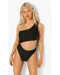Boohoo Petite Cut Out One Shoulder Swimsuit - Negro