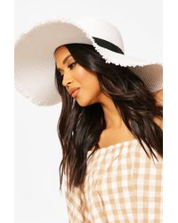 Boohoo Frayed Ege Straw Floppy Hat With Band - Blanc