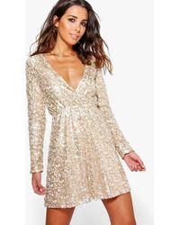 Boohoo - Boutique Sara Sequin Wrap Skater Dress - Lyst