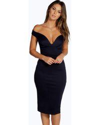 Boohoo Sweetheart Off Shoulder Bodycon Midi Dress - Black