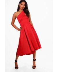 Lyst - Boohoo One Shoulder Scuba Midi Skater Dress in Red 44e1f3141