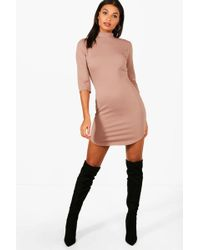 Boohoo - Heavy Rib Curved Hem Bodycon Dress - Lyst