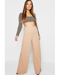 Boohoo Womens Petite High Waisted Wide Leg Pants - Natural