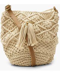 Boohoo Macrame Bucket Bag - Natural