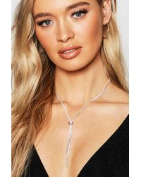 Boohoo Womens Statement Diamante Plunge Necklace - Grey