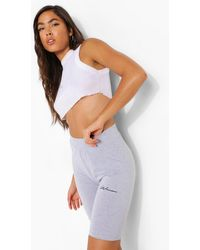 "Boohoo Womens High-Waist Radlerhose Mit ""Woman""-Stickerei - Grau"