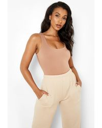 Boohoo Double Layer Scoop Neck One Piece - Natural