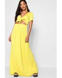 Boohoo - Knot Front Short Sleeve Maxi Dress - Lyst