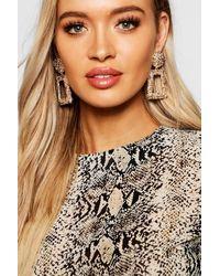 Boohoo Womens Strukturierte, Auffallende Ohrringe Oversized - Mettallic