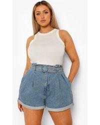 Boohoo Plus Belted Paperbag Denim Shorts - Blue