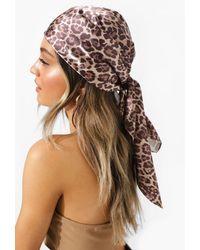 Boohoo Leopard Print Woven Oversized Headscarf - Multicolour