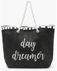 Boohoo - Ivy Slogan And Pom Pom Straw Beach Bag - Lyst