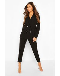 Boohoo Double Breasted Blazer & Trousers Suit Set - Black