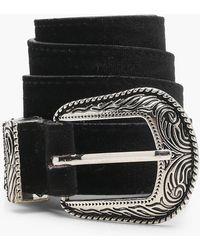 Boohoo - Sophie Velvet Western Boyfriend Belt - Lyst