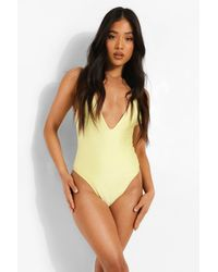 Boohoo Petite Plunge Bathing Suit - Yellow