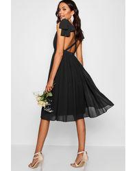 Boohoo Chiffon Pleated Midi Skater Bridesmaid Dress - Black