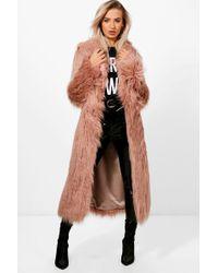 Boohoo - Boutique Mongolian Maxi Faux Fur Coat - Lyst