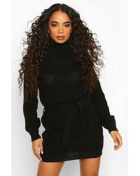 Boohoo Petite Self Belted Roll Neck Jumper Dress - Black