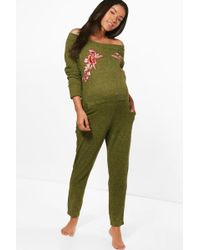Boohoo | Maternity Betsy Off Shoulder Lounge Jumpsuit | Lyst