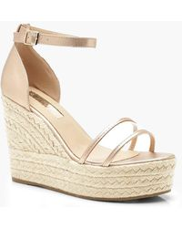 Boohoo - Clear Panel Espadrille Wedges - Lyst