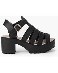Boohoo Lexi Fisherman Cleated Sandal - Black