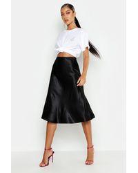 Boohoo Satin Bias Cut Slip Midi Skirt - Black