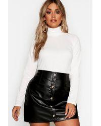 Boohoo Womens Plus Rib Turtle Neck Sweater - White