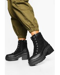 Boohoo Womens Croc Panel Block Heel Hiker Boots - Black