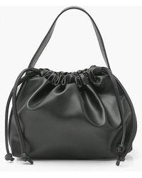 Boohoo Ruched Top Handle Grab Bag - Black