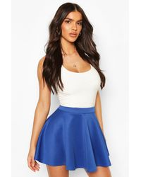 Boohoo Basic Micro Fit And Flare Skater Skirt - Blue