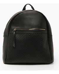 Boohoo Womens Chevron Zip Top Rucksack - Black - One Size