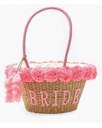 Boohoo Bride Straw & Pom Pom Large Beach Bag - Pink
