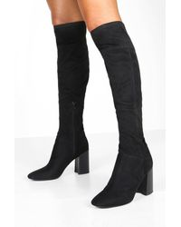 Boohoo Block Heel Pointed Toe Over The Knee Boots - Black