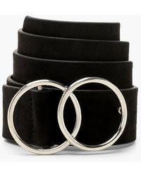 Boohoo Suedette Double Ring Boyfriend Belt - Black