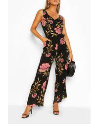 Boohoo Floral Print Split Hem Sleeveless Jumpsuit - Noir