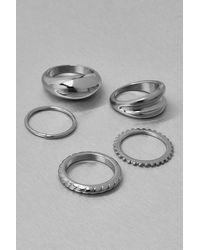 Boohoo Recycled Metal 5 Pack Stacking Rings - Grey