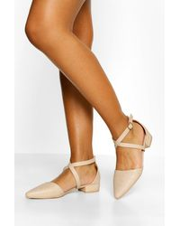 Boohoo Womens Croc Pointed Toe Cross Strap Ballet Pumps - Natur