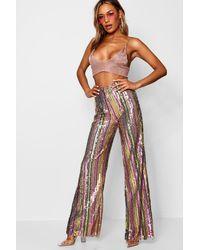 Boohoo Rainbow Sequin Stripe Wide Leg Trouser - Pink